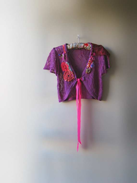 Hot Pink & Plum Jacket, Cropped, cardigan, Shrug, Purple, Vintage Embroidered, Lace, Pretty Boho