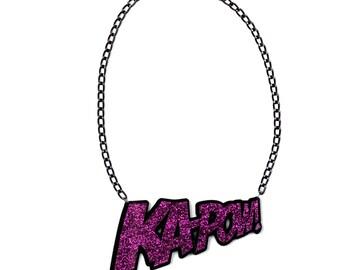 KAPOW Necklace- Purple Glitter
