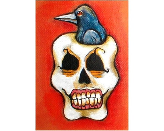 CROW In SKULL Halloween Original Weird Art Painting ACEO