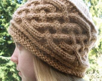 PDF Knitting Pattern-Saxon Braid Cabled Cap