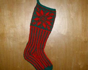 PDF Knitting Pattern  Poinsettia Christmas Stocking