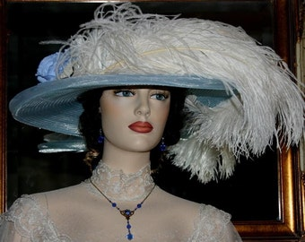 Ascot Hat Kentucky Derby Hat Wide Brim Tea Hat Titanic Hat Somewhere in Time Hat Downton Abbey Hat Edwardian - Blue Rose Crystal Fairy