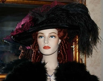 Victorian Tea Hat Somewhere in Time Hat - Burgundy Crystal Fairy