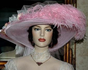 Kentucky Derby Hat Ascot Hat Victorian Hat Tea Hat Titanic Hat Easter Hat Women's Pink Hat - Pink Rose Crystal Fairy