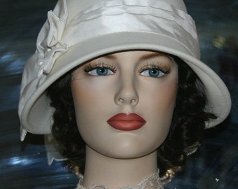 "Flapper Hat Edwardian Tea Hat Wedding Hat Church Downton Abbey Hat, Gatsby Hat ""Lady Ruth"" Ivory Cloche Hat"
