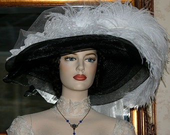 """Victorian Hat Kentucky Derby Hat Wedding Hat Ivory Hat  Ivory Southern Belle Hat Tea Party Hat  """"Ivory Crystal Fairy"""""""