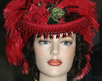"Victorian Hat SASS Hat Riding Hat Sidesaddle Hat Red Hat Society Hat Christmas Hat ""Spirit of Cincinnati"" Short Bow in Back"
