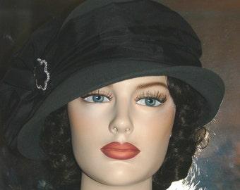 "Flapper Hat Edwardian Tea Hat Downton Abbey Gatsby Hat ""Lady Josephine"" Light Gray Cloche Church hat"