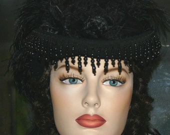 """Steampunk Hat Goth Hat Mourning Hat 1880s Victorian Hat Riding Hat """"Mrs Lincoln"""" Black Hat and Veil"""