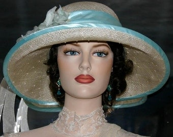 "Edwardian Tea Hat Church hat Downton Abbey Hat, Gatsby Hat Flapper Hat ""Miss Emily"" Wedding Hat Natural and Aqua Ascot Hat"