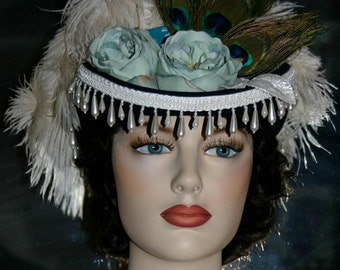"Victorian Hat SASS Hat Riding Hat Sidesaddle Hat ""Spirit of Deadwood IV"" Blue Green Ivory Hat"