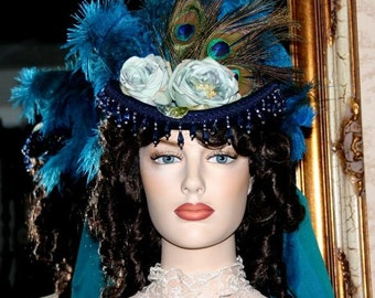 "Victorian Hat SASS Hat Riding Hat Sidesaddle Hat ""Spirit of Deadwood II"" Blue Green Hat"