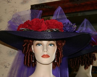 Ascot Hat Kentucky Derby Hat Wide Brim Tea Hat Titanic Hat Somewhere in Time Hat Downton Abbey Hat Edwardian Hat - Purple Simplicity