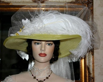 Victorian Hat Wedding Hat - Lemon Meringue Crystal Fairy