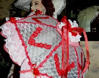 "Victorian Parasol Edwardian Parasol Alice in Wonderland Parasol Southern Belle Parasol ""Country Girl"" Red Gingham & White Lace"