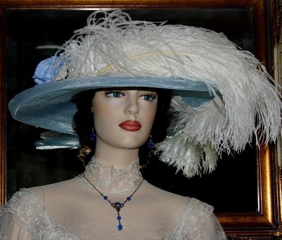 "Tea Party Hat Edwardian Hat Downton Abbey Hat, Gatsby Hat ""Blue Rose Crystal Fairy"""