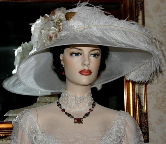 """Kentucky Derby Hat Edwardian Style Hat Tea Hat Downton Abbey Hat Ascot Hat """"Run for the Roses"""" White Hat"""