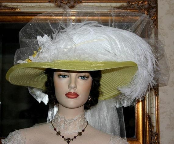 "Victorian Hat Wedding Hat Kentucky Derby Hat ""Lemon Meringue Crystal Fairy"" Yellow & White Tea Hat"