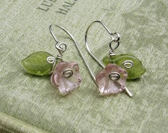 Little Pink Glass Flower Earrings, Sterling Silver Wire and Czech Glass Flower Jewelry, Flower Girl Gift for Girls, Stocking Stuffer, Women