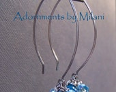Blue Earrings Aqua Crystal Sparkly Beaded Sterling Silver