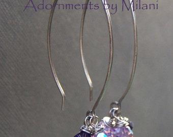 Purple Crystal Earrings Beaded Sterling Silver -Violet Innuendos