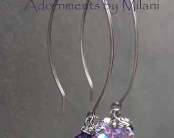 3 Three Purple Earrings Lavender Lilac Rustic Beaded Sterling Silver Bridesmaid Pairs - Violet Innuendos