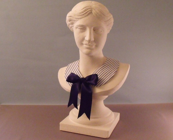 Nautical collar peter pan detachable necklace stripe cotton