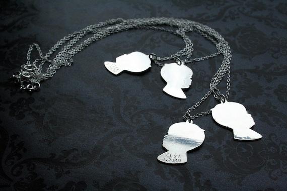 Fine Silver Personalized Custom Child Profile Silhouette Necklace