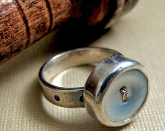 Buttoned Up Ring - Sterling Silver and Vintage Mother of Pearl Button
