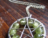 Peridot Wire-wrapped Pentacle Necklace