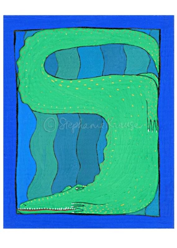 "Alligator - 8"" x 10"" matted, signed digital Giclee print from original artwork"