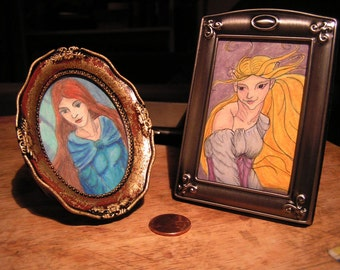 Miniature Fairy Portrait - Original Drawing, Framed