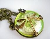 Dragonfly Necklace Lime Green Vaseline Czech Glass Button Oxidzed Brass Vintage Inspired Jewelry