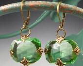 Green Glass Earrings - Peridot Green Czech Glass Oxidized Brass Earrings Jewelry