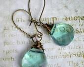 Aqua Champagne Crystal Earrings Swarovski Briolette Drop Earrings Aqua Wedding Bridesmaid Jewelry