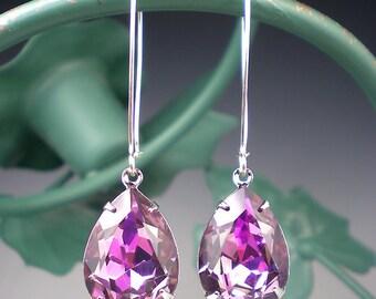 Rhinestone Earrings Lt Rose Vitrail Light Swarovski Drop Earrings Lavender Pink Wedding Jewelry Bridesmaid Earrings