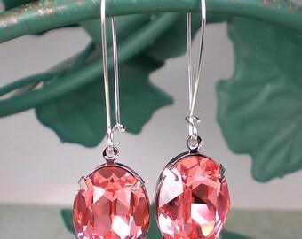 SALE Rose Peach Rhinestone Earrings Swarovski Drop Earrings Pink Peach Coral Wedding Jewelry Bridesmaid Earrings