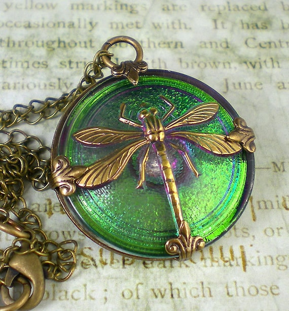 Dragonfly Necklace Shimmery Green Czech Glass Button Oxidized Brass Vintage Inspired Jewelry