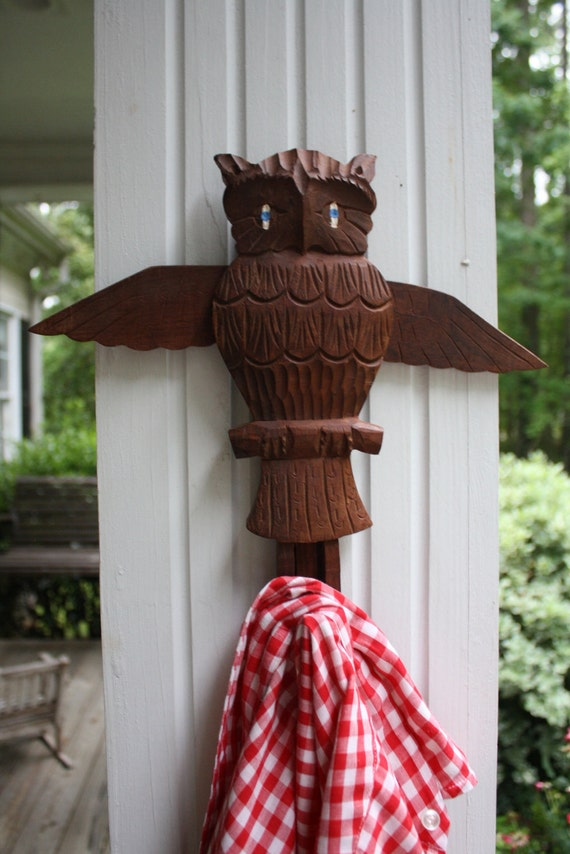 REDUCED Carved Wooden Owl Wall Hook Coat Hat Hanger Bird Plaque Movable Hook Wings