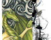 Green Dragon Bookmark - Fantasy Art Print - Peridot, August Birthstone