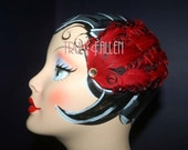 Clara Bow Red Curly Fascinator Feather Hair Clip eda