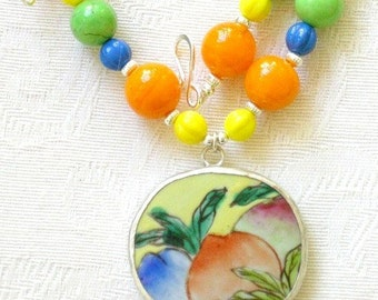 Pottery shard necklace, Ming Dynasty, beaded, historic, antique, unique, colorful, yellow, orange, flower, summer fruit - Emily
