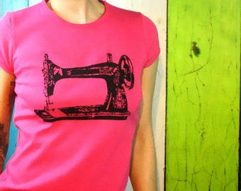 Sewing machine shirt  - Womens Trendy Clothing Screen Printed Shirts Crafty - Sew a Go-Go - gifts for DIYers