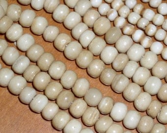 Antiqued Round BONE Spacer Beads 8mm (30)