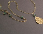Mari Brass Necklace - Hammered Brass Raindrop Pendant with Green Aventurine Accents on 14k Goldfill Chain