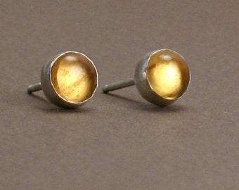 Citrine Earrings - Citrine Studs - Honey Drops - 6mm Gemstones on Sterling Silver Post Earrings For Men and Women