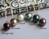 Acorn Necklace, Pearl Necklace, Fall Wedding Jewelry, Bridesmaid Necklace, Autumn Wedding, Bridesmaid Gift, Acorn Pendant, Custom Color