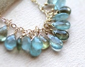 March Birthstone Necklace, Faceted Moss Aquamarine Gemstone teardrops on 14k fill gold chain, March Birthday, Multi-color Aquamarine