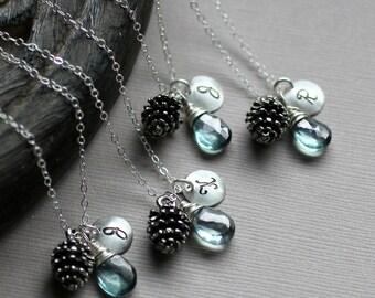 Bridesmaid Necklaces, GIFT SET, Pinecone Necklaces, Monogram Initial Charm, Custom Stone, Winter Wedding, Woodland Bridesmaid Jewelry, Blue