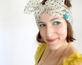 Retirement sale - Cream and Black Polka Dot organza headscarf or neckerchief // Rockabilly, Retro, Pin-Up inspired